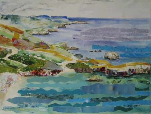 aquarel met collage
