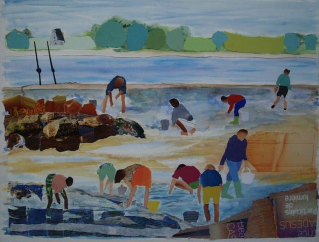 collage en aquarel